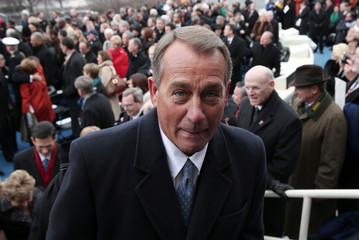 U.S. House Speaker John Boehner leaves after the presidential inauguration in Washington