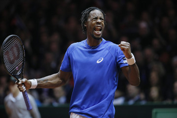 France's Monfils reacts during their Davis Cup final singles tennis match against Switzerland's Federer at the Pierre-Mauroy stadium in Villeneuve d'Ascq, near Lille