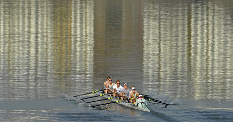 The Cambridge boat crew train on the River Thames in west London