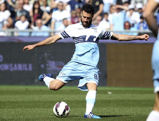 Lazio's Candreva shoots and scores during their Italian Serie A soccer match against Empoli at the Olympic stadium in Rome