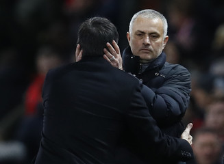 Manchester United manager Jose Mourinho and Hull City manager Marco Silva after the game