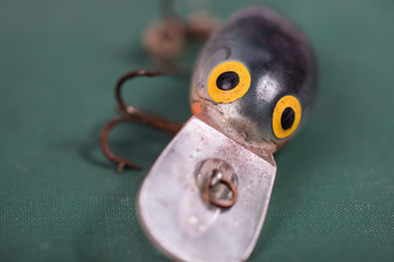 Close up of an old fishing lure