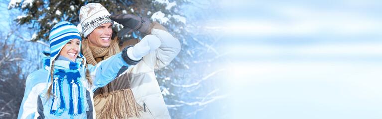 Winter christmas couple