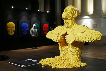 """The art work titled """"Yellow"""" which is made out of Lego bricks is seen at """"The Art of the Brick"""" exhibition in Brussels"""