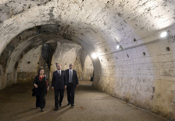 French President Hollande and French Junior Minister for Veterans Arif visit the Citadel in Ajaccio