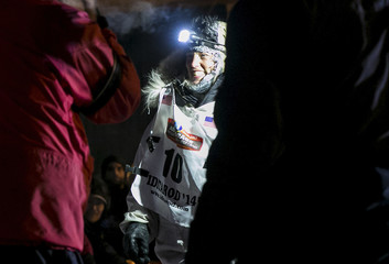 Aliy Zirkle smiles at the finish line during the Iditarod dog sled race in Nome