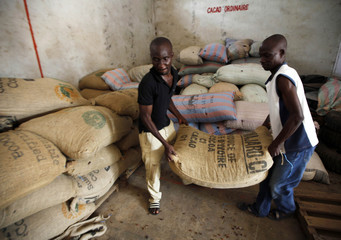 Me carry a sack full of cocoa beans for sale in Daloa, which produces a quarter of Ivory Coast's national cocoa output