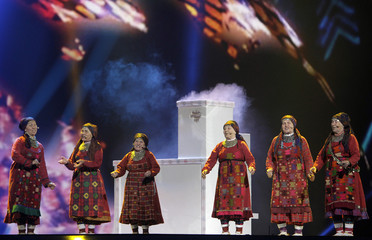 "Buranovskiye Babushki of Russia perform their song ""Party For Everybody"" during a rehearsal for the finals of the Eurovison Song Contest in Baku"