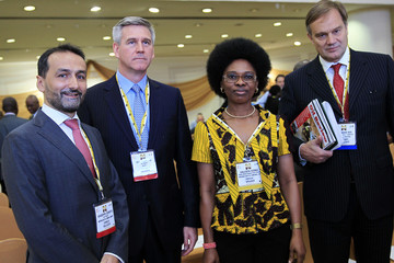 GM Finance Cerrito, GM Commercial Mantellassi, GM Nigeria Content Development Azogu of Nigeria Agip Oil Companies (NAOC) and GM Commercial Shell Nigeria Ltd Bos pose for pictures at the Nigeria Oil & Gas 2014 Conference in Abuja