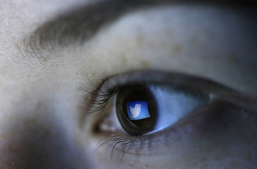 Picture illustration shows Twitter's logo reflected in a person's eye, in central Bosnian town of Zenica
