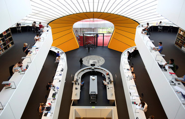 """Students sit in the philological library of the Free University of Berlin """"Freie Universitaet Berlin"""" in Berlin"""