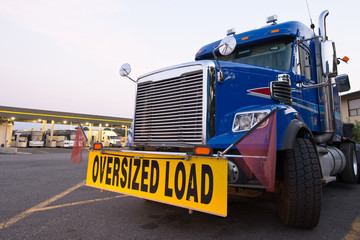 classic truck big rig blue sign oversized load truck stop Wall mural