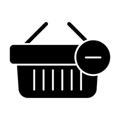 Shopping basket vector icon. Black and white Remove from cart illustration. Solid linear icon.