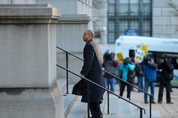 Caesar Goodson arrives at the courthouse for the first day of jury selection in Baltimore