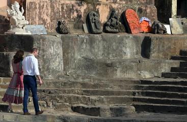Britain's Prince William and his wife Catherine, Duchess of Cambridge,  visit the historic Banganga water tank in Mumbai