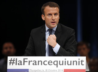 Former French economy minister Emmanuel Macron delivers a speech during a political rally for his political movement, En Marche !, or Forward !, in Montpellier