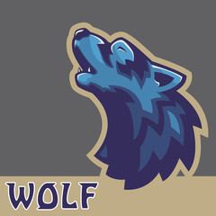 Howling wolf mascot. Wolf heads. Vector illustration.