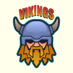 Viking mascot head in a front view. Vector illustration.
