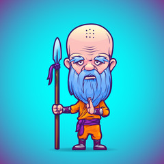 Buddhist warrior monk. Isolated on a blue background. Vector illustration.