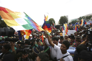 Coca growers wave indigenous Wiphala flags in La Paz, as indigenous people from the Quecha and Aymara celebrate Bolivia's re-admittance to the U.N. anti-narcotics convention