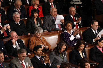 A seat sits empty for recovering Rep. Giffords while U.S. President Obama delivers his State of the Union address in Washington