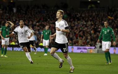 Germany's Marco Reus celebrates after scoring against Ireland during their 2014 World Cup qualifying soccer match at the Aviva Stadium in Dublin