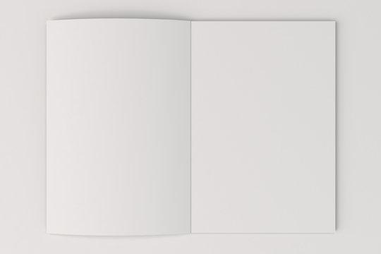 Blank white open brochure mock-up on white background