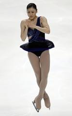 Kim Yuna of Korea performs during the ladies short program competition at the ISU World Figure Skating Championships in Moscow