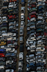 Aerial view of a car junkyard in Seville, southern Spain