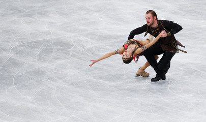 Bazarova and Larionov of Russia perform the Pairs Free Skating at the ISU European Figure Skating Championships in Budapest