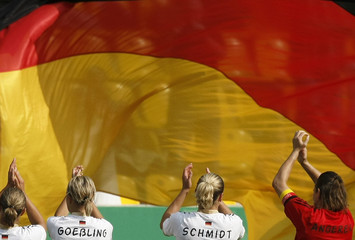 Germany's players celebrate after their women's international friendly soccer match against the Netherlands in Aachen