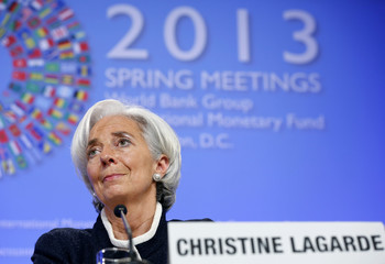 Lagarde, Managing Director of the IMF, speaks during her news conference at IMF / World Bank Spring Meetings in Washington