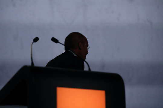 French telecom operator Orange Chairman and Chief Executive Officer Stephane Richard leaves after his speech during the company's  shareholders meeting in Paris