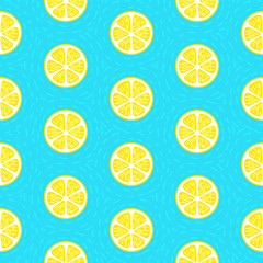 lemon seamless pattern blue background