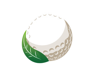 Modern Golf Logo - Golf Ball And Green Fresh Leaf