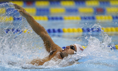 Pinzon competes in men's 200m backstroke event during USA Swimming Grand Prix Charlotte Ultra Swim in Charlotte