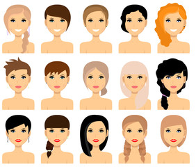 Set of female hairstyles. Vector.