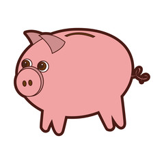 cute piggy character icon vector illustration design