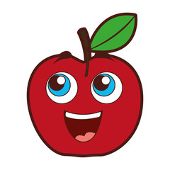 apple happy kawaii character vector illustration design