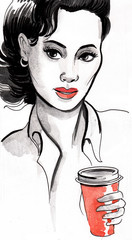 Woman with a coffee cup