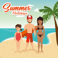 Family in swimsuit on the beach with palm tree and summer holidays sign. Vector illustration.