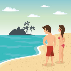 Couple in swimsuit on the beach with island silhouette. Vector illustration.