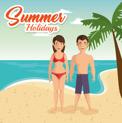Couple in swimsuit with summer holidays over beach landscape background. Vector illustration.