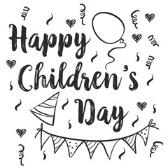 Happy childrens day doodle style