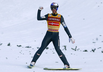 Austria's Schlierenzauer reacts on his second place in the second jumping of the 61st four-hills ski jumping tournament in Garmisch-Partenkirchen