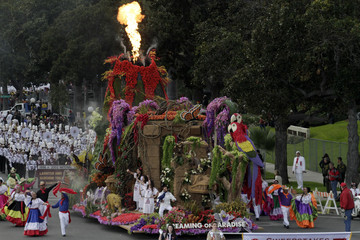 "Fire shoots from a volcano on the Dole ""Dreaming of Paradise"" float during the 124th Annual Rose Parade in Pasadena, California"