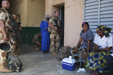 French soldiers visit a hospital in Gao