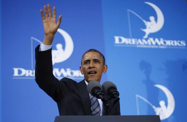 Obama speaks at Dream Works Animation in Glendale