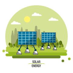 color landscape image solar energy panels vector illustration