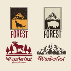 beige color set with rectangle frame logo forest with animals silhouette wanderlust vector illustration